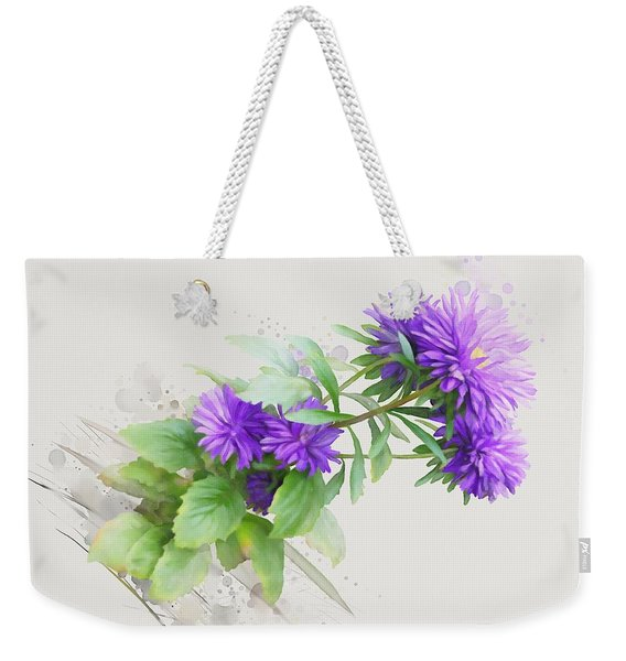 Purple Aster Weekender Tote Bag