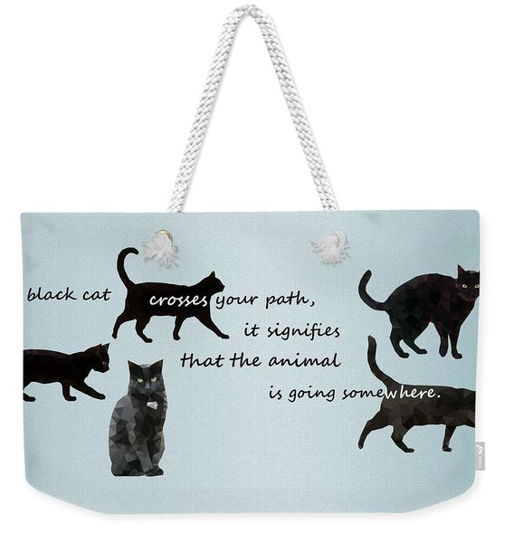 Black Cat Crossing Weekender Tote Bag