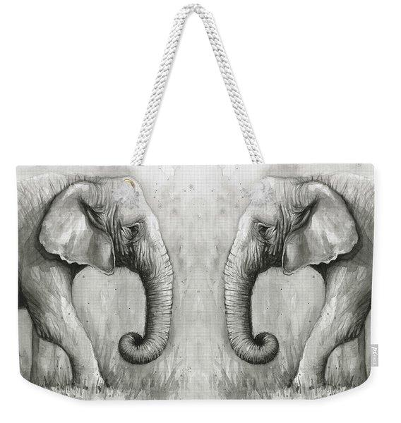 Elephant Watercolor Weekender Tote Bag