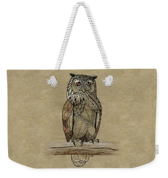 Weekender Tote Bag featuring the drawing Paper Bag Owl by ZH Field