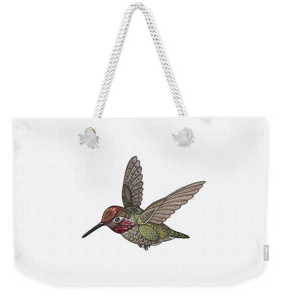 Weekender Tote Bag featuring the drawing Hummingbird by ZH Field