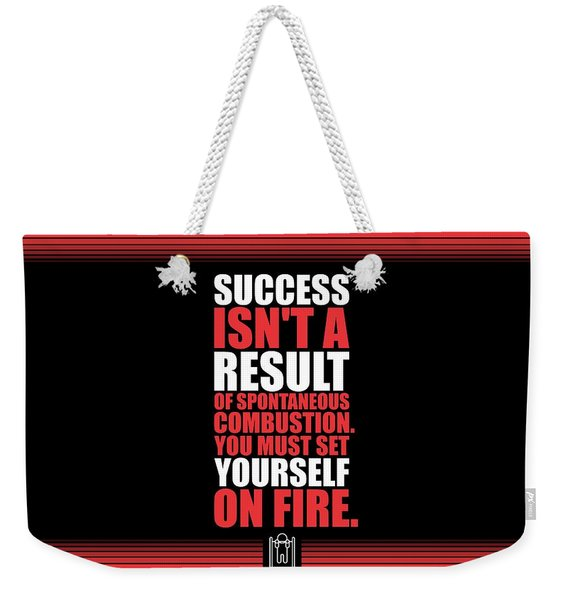 Success Is Not A Result Gym Motivational Quotes Poster Weekender Tote Bag