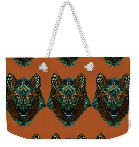Zentangle Inspired Art- Wolf Colored Weekender Tote Bag