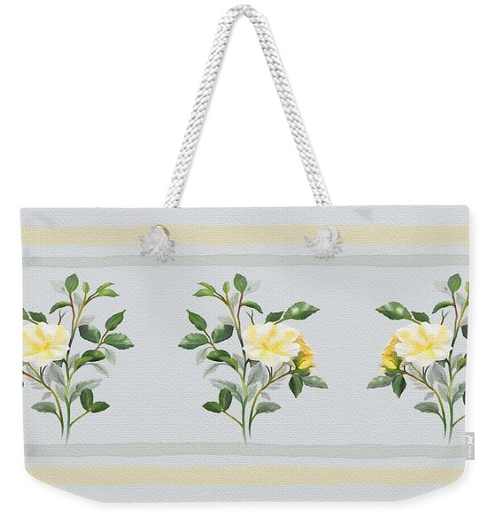 Yellow Watercolor Rose Weekender Tote Bag