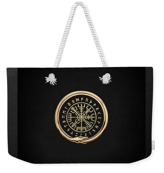 Vegvisir - A Magic Icelandic Viking Runic Compass - Gold On Black Weekender Tote Bag
