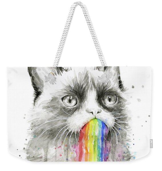Grumpy Rainbow Cat Weekender Tote Bag