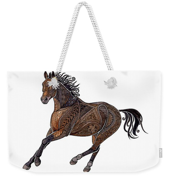 Weekender Tote Bag featuring the painting Grecian Horse by ZH Field