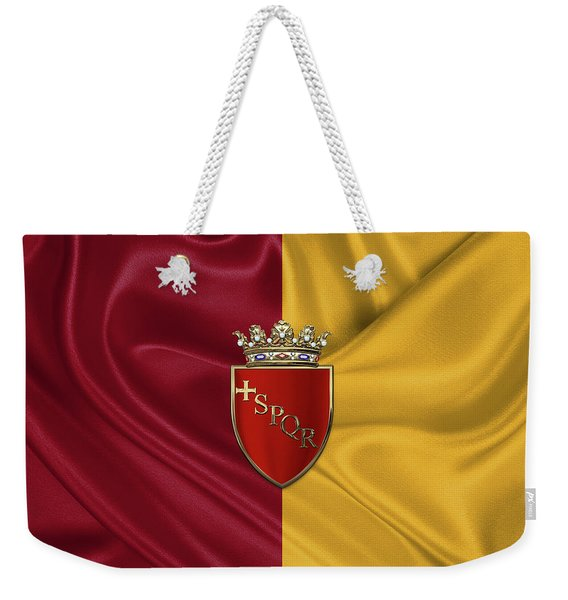 Coat Of Arms Of Rome Over Flag Of Rome Weekender Tote Bag