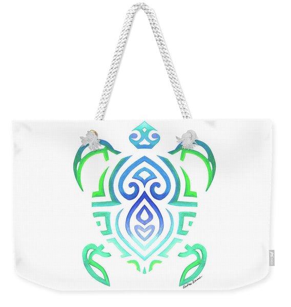 Tribal Turtle White Background Weekender Tote Bag