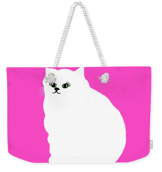 Weekender Tote Bag featuring the painting Cartoon Plump White Cat On Pink by Marian Cates