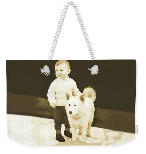 Weekender Tote Bag featuring the painting Sweet Vintage Toddler With His White Mutt by Marian Cates