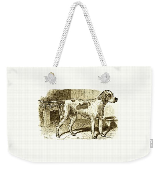 Weekender Tote Bag featuring the painting Vintage Sepia German Shorthaired Pointer by Marian Cates