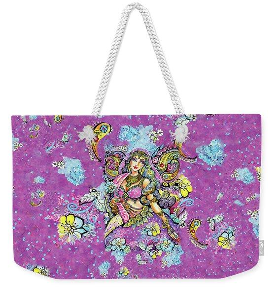 Purple Paisley Flower  Weekender Tote Bag
