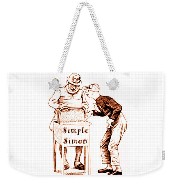 Weekender Tote Bag featuring the painting Simple Simon Mother Goose Vintage Nursery Rhyme by Marian Cates