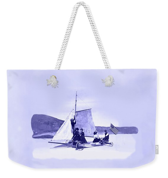 Weekender Tote Bag featuring the painting Vintage Ladies And Gentlemen Sail On The Desert Queen by Marian Cates