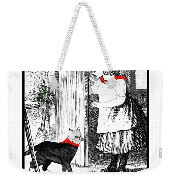 Weekender Tote Bag featuring the painting Vintage Girl Lets In Her Gray Cat by Marian Cates