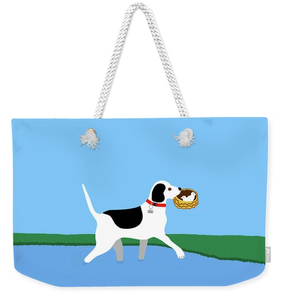 Weekender Tote Bag featuring the painting Cartoon Hero Hound Rescues Two Baby Birds by Marian Cates