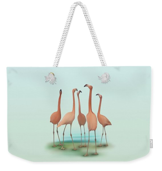 Flamingo Mingle Weekender Tote Bag