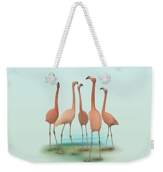 Flamingo Mingle Weekender Tote Bag