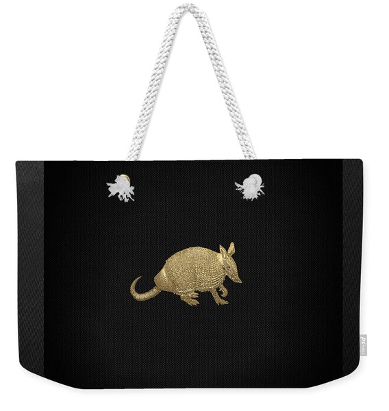 Gold Armadillo On Black Canvas Weekender Tote Bag