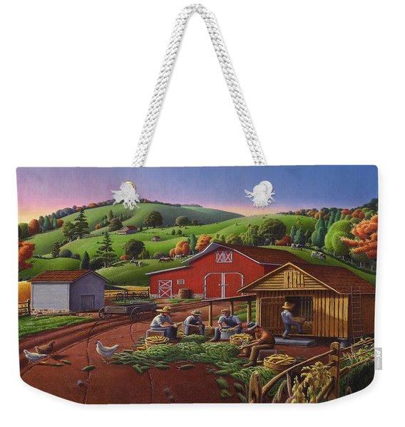 Folk Art Americana - Farmers Shucking Harvesting Corn Farm Landscape - Autumn Rural Country Harvest  Weekender Tote Bag