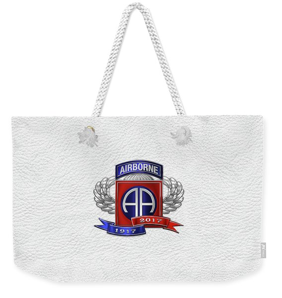 82nd Airborne Division 100th Anniversary Insignia Over White Leather Weekender Tote Bag