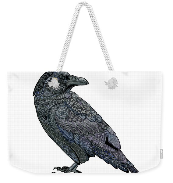 Weekender Tote Bag featuring the mixed media Celtic Raven by ZH Field