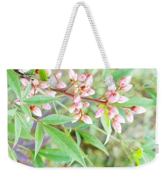 Pale Powder Pink Plant Weekender Tote Bag
