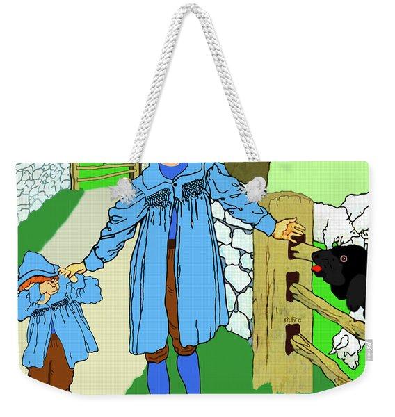 Weekender Tote Bag featuring the painting Baa, Baa, Black Sheep Nursery Rhyme by Marian Cates
