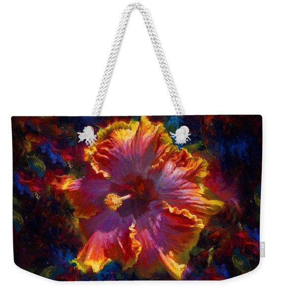 Rainbow Hibiscus Tropical Flower Wall Art Botanical Oil Painting Radiance  Weekender Tote Bag