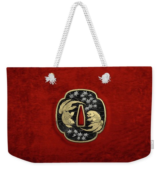 Japanese Katana Tsuba - Twin Gold Fish On Black Steel Over Red Velvet Weekender Tote Bag