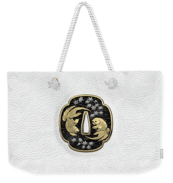Japanese Katana Tsuba - Twin Gold Fish On Black Steel Over White Leather Weekender Tote Bag