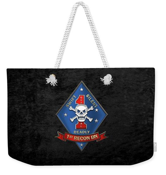 U S M C  1st Reconnaissance Battalion -  1st Recon Bn Insignia Over Black Velvet Weekender Tote Bag