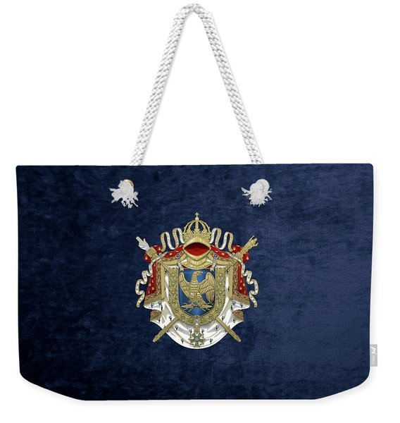 Greater Coat Of Arms Of The First French Empire Over Blue Velvet Weekender Tote Bag