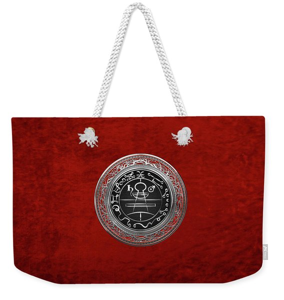 Silver Seal Of Solomon - Lesser Key Of Solomon On Red Velvet  Weekender Tote Bag