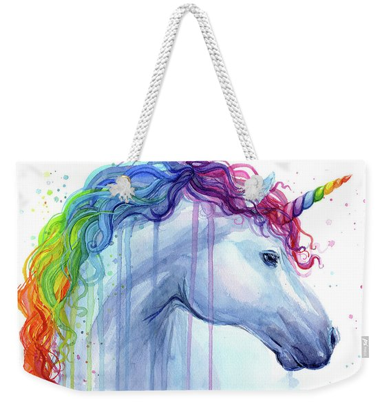 Rainbow Unicorn Watercolor Weekender Tote Bag