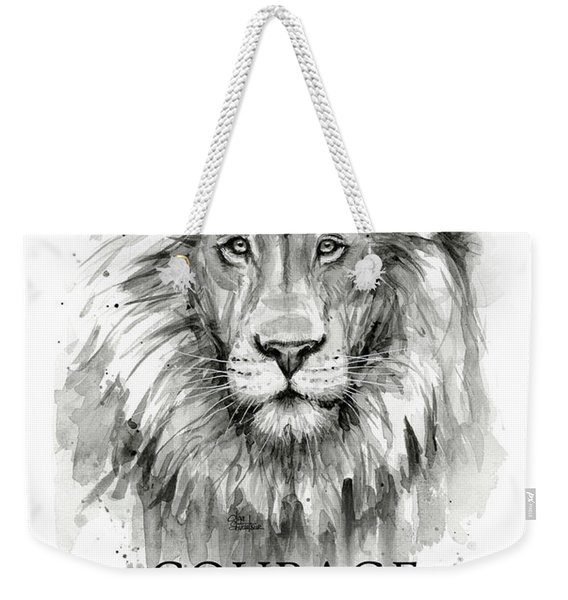 Lion Courage Motivational Quote Watercolor Animal Weekender Tote Bag
