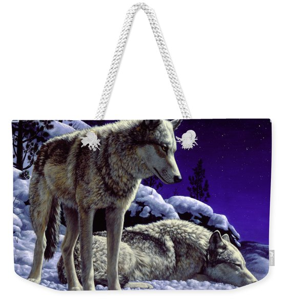 Wolf Painting - Night Watch Weekender Tote Bag