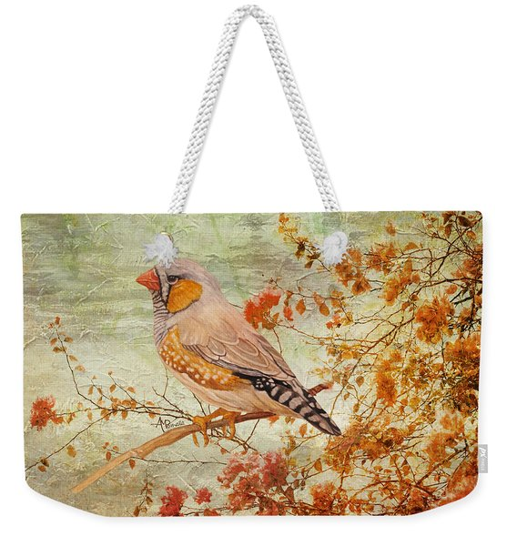 Zebra Finch Among Almond Trees Weekender Tote Bag