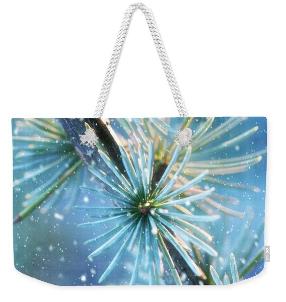 Blue Atlas Cedar Winter Holiday Card Weekender Tote Bag