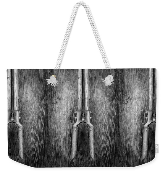 Post Hole Digger II On Plywood 73 In Bw Weekender Tote Bag