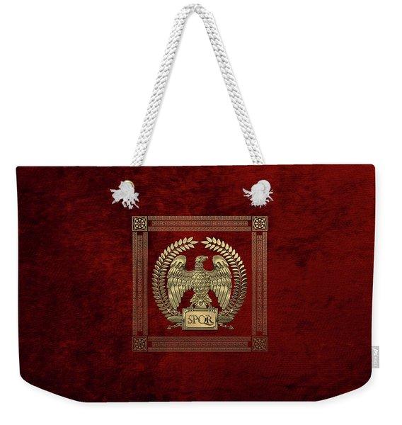 Roman Empire - Gold Imperial Eagle Over Red Velvet Weekender Tote Bag