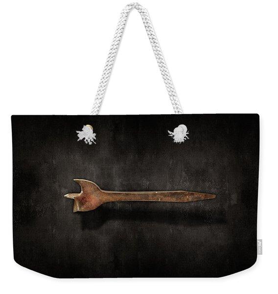 Antique Wood Boring Bit On Black Weekender Tote Bag