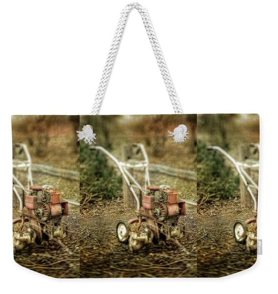 Vintage Garden Rototiller Near Split Rail Fence Weekender Tote Bag