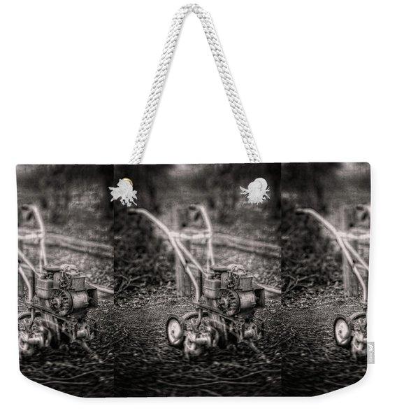 Vintage Garden Rototiller Near Split Rail Fence In Black And Whi Weekender Tote Bag