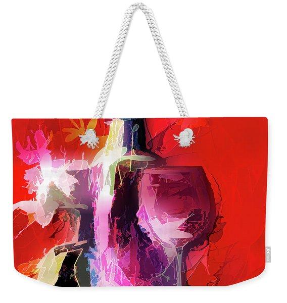 Fun Colorful Modern Wine Art   Weekender Tote Bag