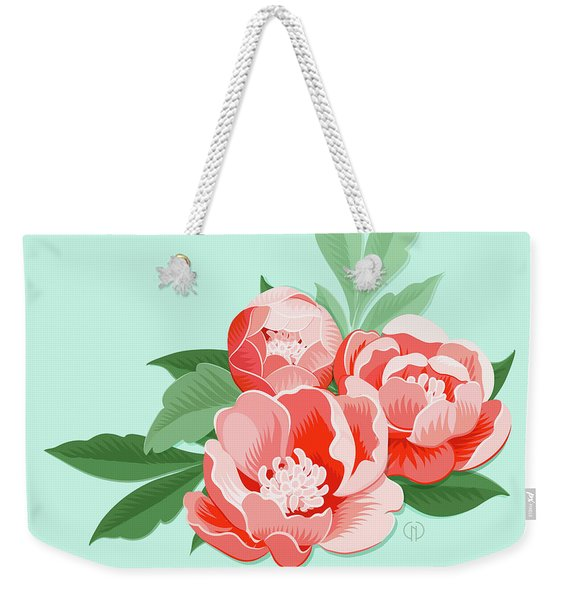 Peonies And Mint Weekender Tote Bag