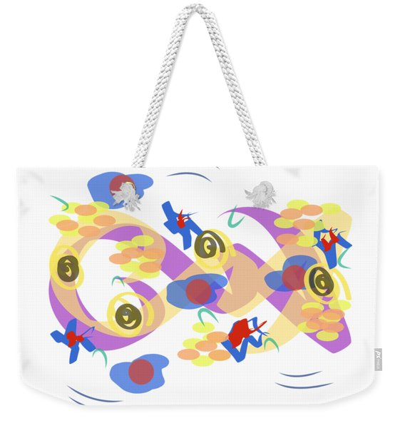Weekender Tote Bag featuring the digital art Abstract Garden #5 by Bee-Bee Deigner