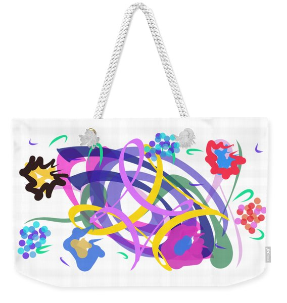 Weekender Tote Bag featuring the digital art Abstract Garden #2 by Bee-Bee Deigner