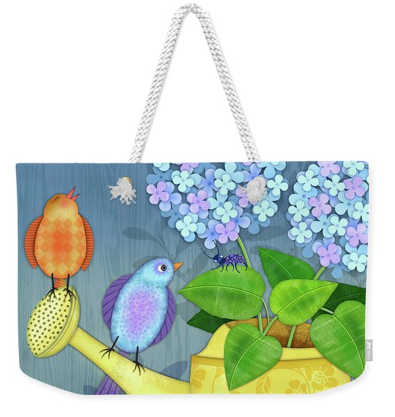 Two Birds On A Watering Can Weekender Tote Bag